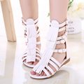 Girl's sandals leather boot sandals primary school students sandals female child princess shoes knee high gladiator sandals
