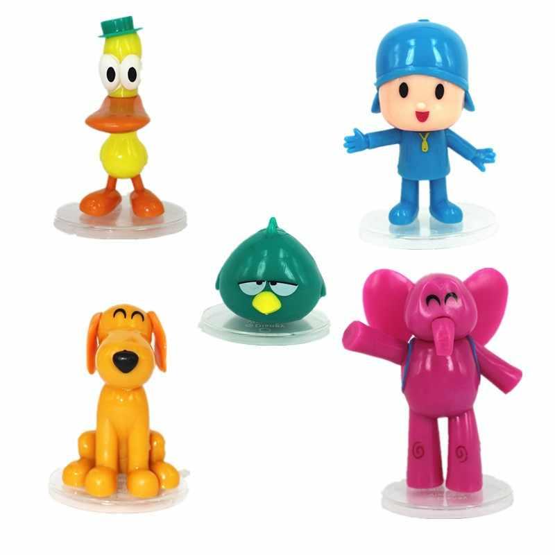 3 set/lote 8 cm pvc pocoyo zinkia pato elefante pássaro cão dos desenhos animados boneca brinquedos Mobiliário artigos brinquedos das Crianças de Férias presentes