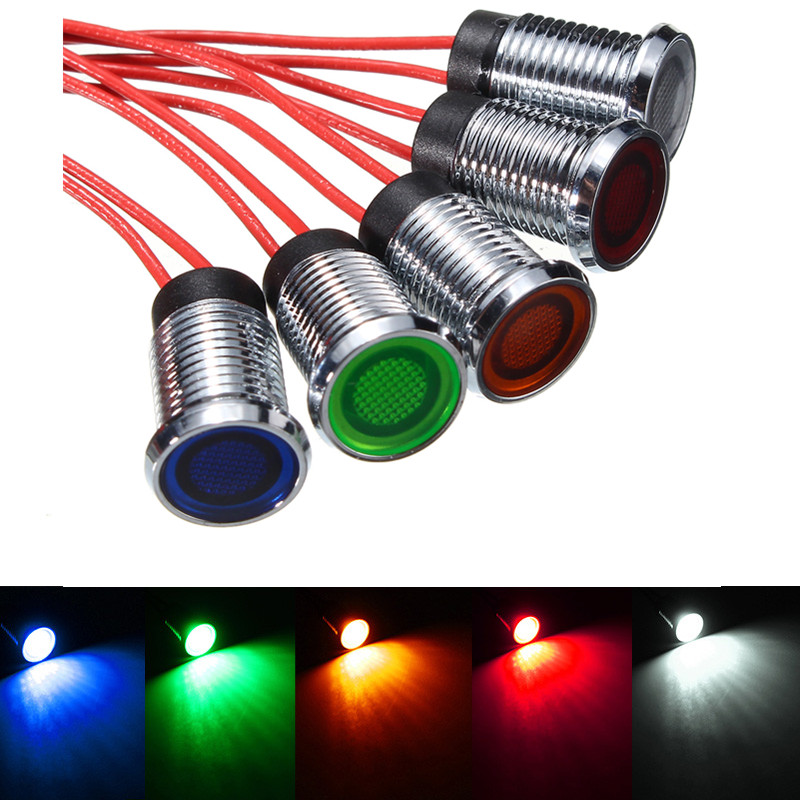 8mm LED Auto Car Dash Panel Pilot Indicator Instrument Light Signal Lamp Boat Marine Truck Red Blue Green White Yellow 12V 45smd led white blue green red yellow car auto cab sign top light vehicles windscreen white led lamp dc 12v taxi light