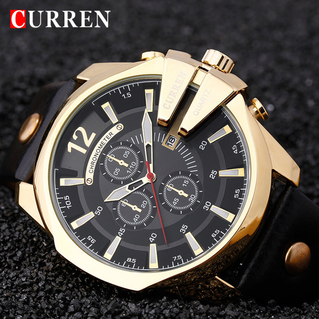 CURREN גברים של למעלה מותג יוקרה קוורץ שעונים גברים של ספורט קוורץ שעון צבאי זכר שעון אופנה זהב שעון 8176 זרוק משלוח