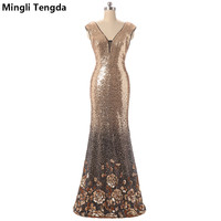 Mingli Tengda 2017 New Gold Long Evening Dresses Sequin Pattern Evening Dress Backless Sleeveless Mermaid Dresses Robe Soiree