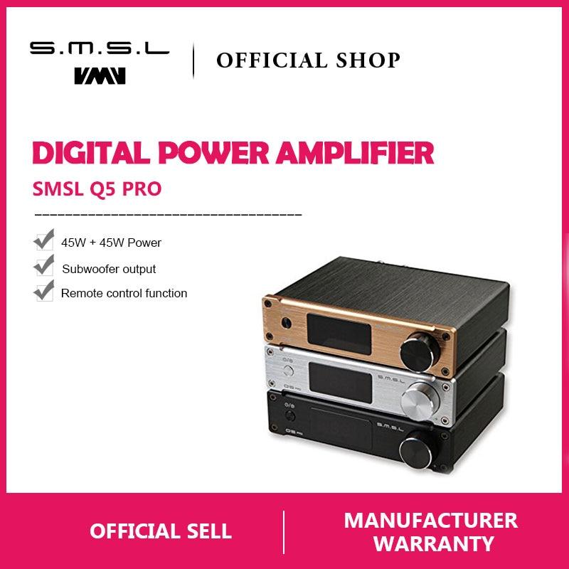 SMSL Q5 Pro Hi Fi Audio Digital Power Amplifier 2x45W Control USB COAXIAL OPTICAL Input 192KHZ