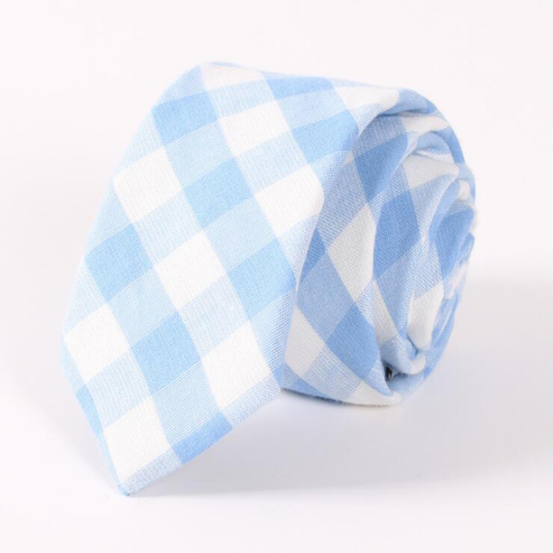 RBOCOTT 6.5 Cm Cotton Tie Blue Fashion Plaid Tie Green Striped Necktie Casual Slim Tie Red Skinny Neck Tie