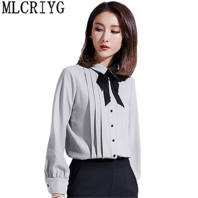 523b8e345d9fd1 New Arrival Office Bow Tie Blouses Women Long Sleeve Gray Blue Single  Button Shirts Female Elegant 2019 Winter Spring Tops LX16