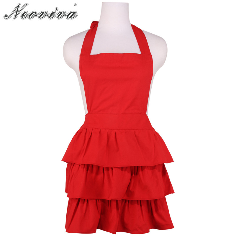 Neoviva Vintage Red Durable Canvas Kitchen Apron for Women with Flirty Ruffles Susan Solid Hostess Christmas Apron New Year Gift