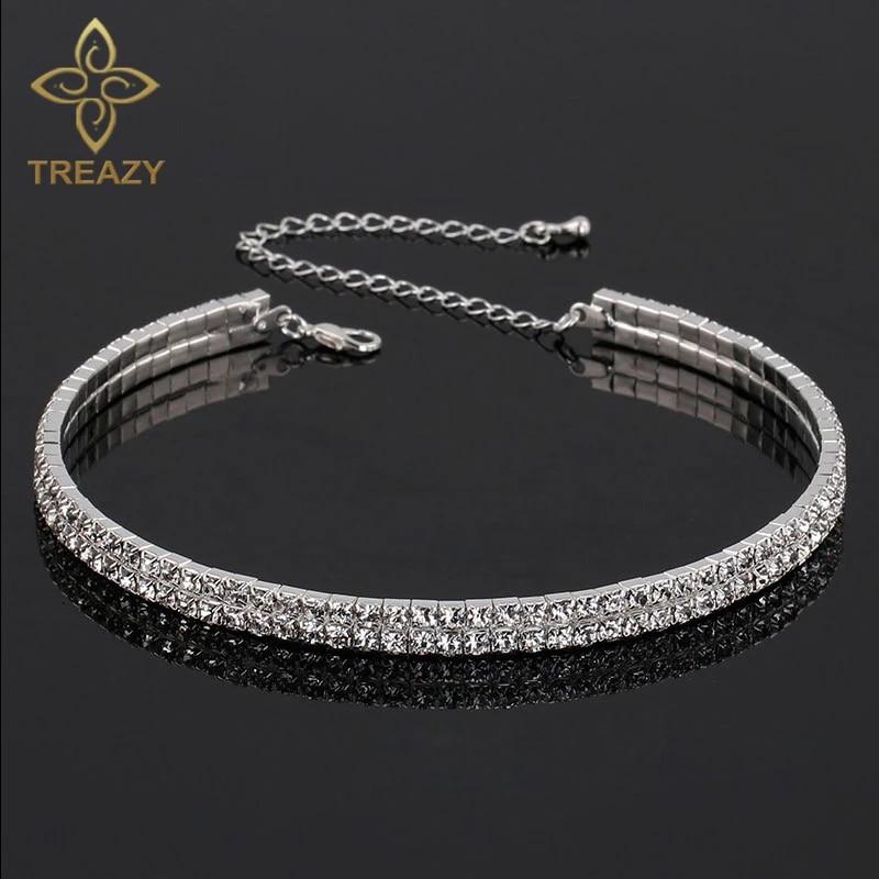 Sparkling Crystal Choker Tear Drop Rhinestone Necklace Pendant Diamante Choker