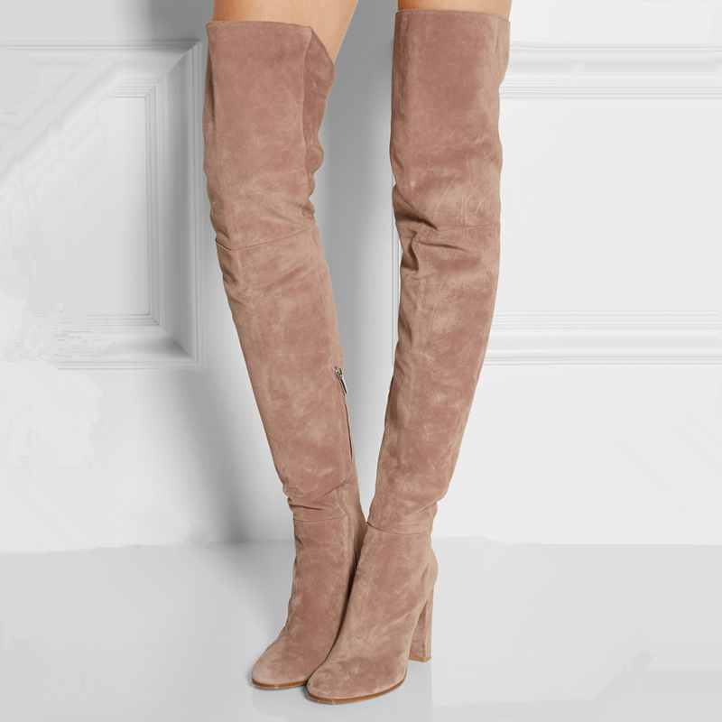 Aliexpress.com : Buy Suede Over The Knee Boots Pink/Light Tan 2016 ...