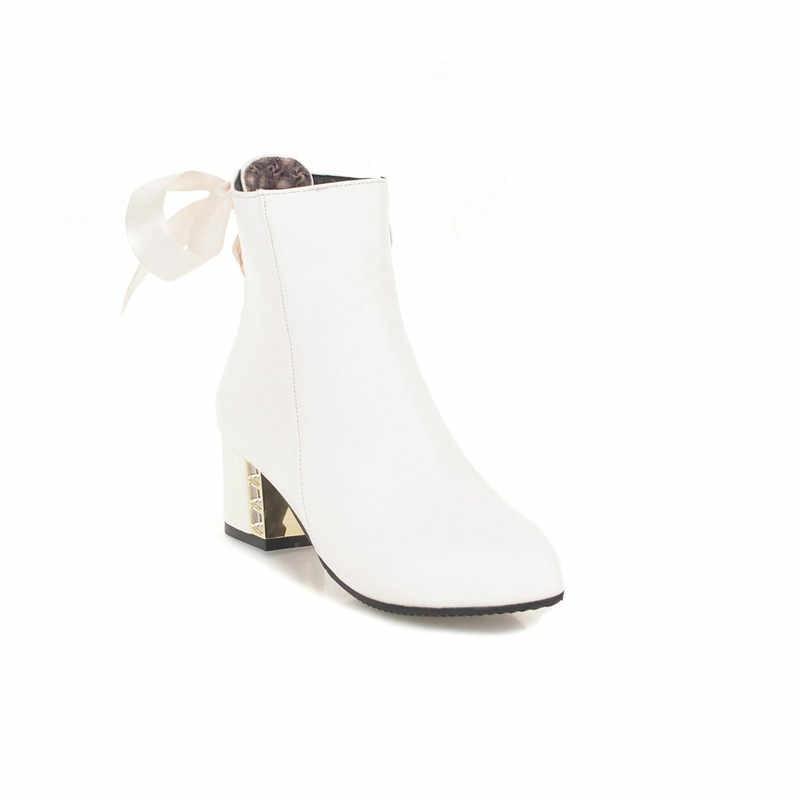YMECHIC 2018 แฟชั่นสีเหลืองสีขาว PARTY Chunky BLOCK รองเท้าส้นสูงรองเท้าส้นสูงคริสตัลรองเท้า Lolita Riband สายคล้องข้อเท้ารองเท้าบูทผู้หญิงฤดูหนาว