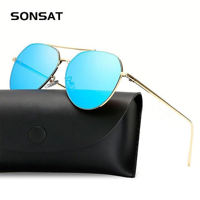 02e88945951e0e Mode plat lentille miroir lunettes de soleil de l aviation femelle classique  lunettes de soleil