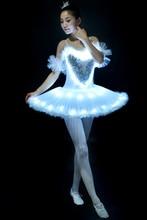 Luminous LED Ballet Dance Dress Childkids Swan Lake Tutu Fluorescent Pompon Adult Female Professional Pancake Costume H638