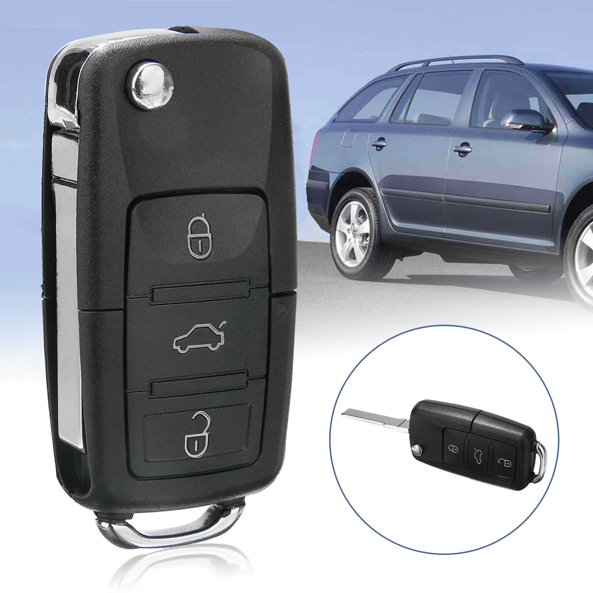 1pc 3 Button Car Key Case For Skoda OCTAVIA FABIA A61 Folding Flip Remote Key Fob Case Shell in Key Case for Car from Automobiles Motorcycles