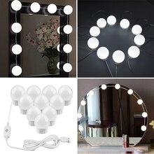 Светодиодный светильник-зеркало для макияжа в голливудском стиле с регулируемой яркостью USB, светильник-косметичка, лампа для туалетного столика, зеркало для макияжа