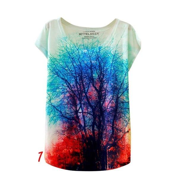 HTB1gRDfNFXXXXbdapXXq6xXFXXX0 - Fashion Summer Animal Cat Print Shirt O-Neck Short Sleeve