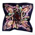 52*52 CM Natural Invierno de Las Mujeres Pequeña Bufanda Cuadrada de Seda de la Marca de Lujo Aceite Impreso Pañuelos Chales Echarpe Foulard Bufandas Hijab S6