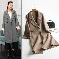 Корейское зимнее шерстяное пальто Для женщин 2018 Новый Альпака женский пальто с лацканами елочкой длинный двухсторонний Шерстяное пальто