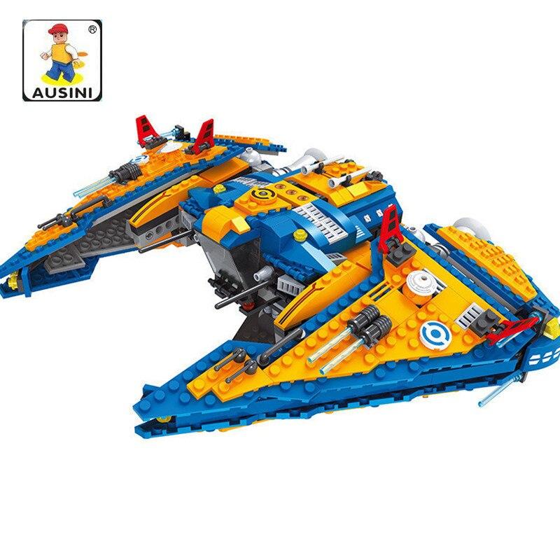 AUSINI 818Pcs Model building blocks kits STAR WARS Outer Space Space Ship bricks Educational model building toys hobbies 8 in 1 military ship building blocks toys for boys