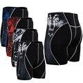 4 Way Stretch Impresión Cortocircuitos de la Compresión Hombres Sudor Respirable de Secado rápido Pantalones Cortos MMA de levantamiento de Pesas
