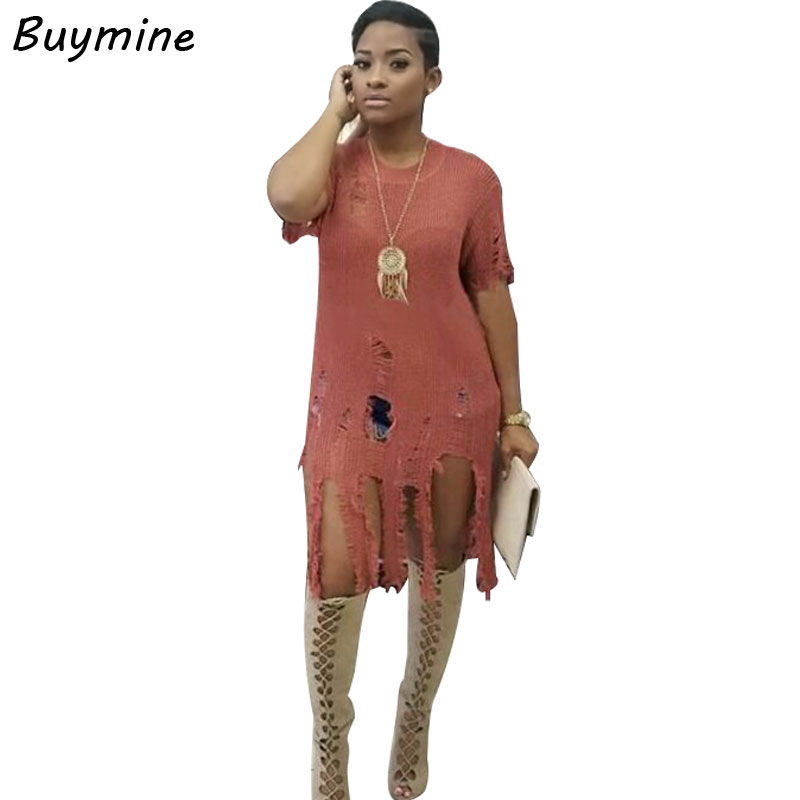 Sexy Ripped Knitted Sweater Dress Women Tassel Hole Club Dresses Autumn Bodycon Party Short Dress 2017 Thin Sweater Vestido Robe choker neck ruffle bodycon dress short club dresses