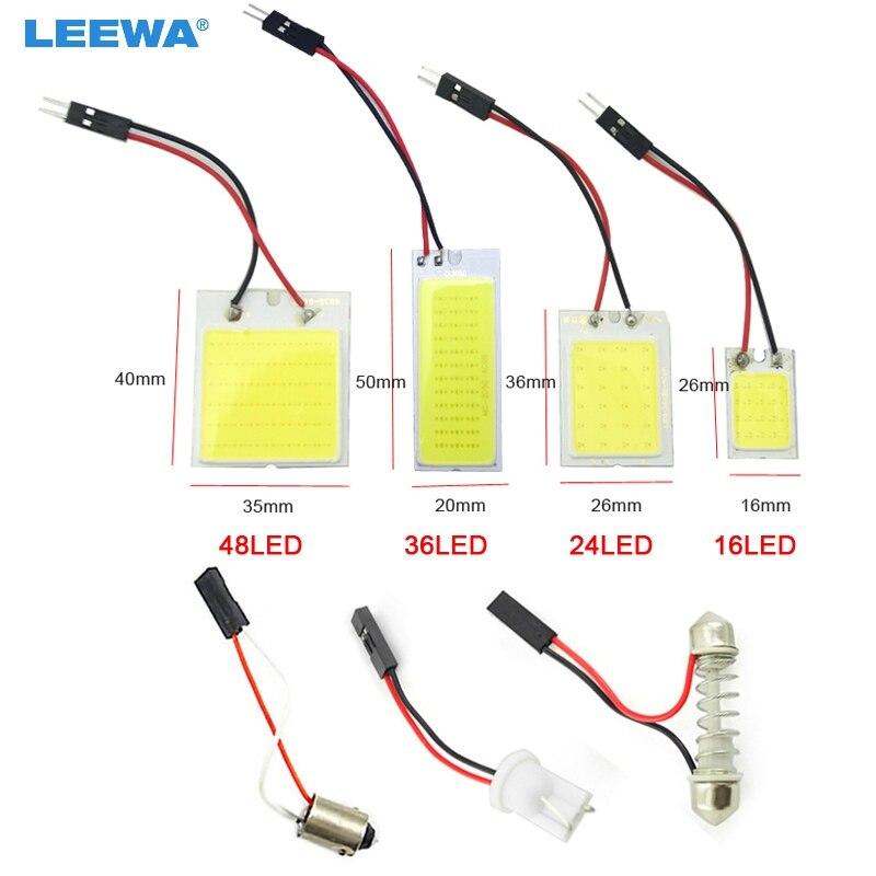 LEEWA-lumière de lecture pour voiture | Lampe de panneau de dôme T10 + Festoon, 16 puces/24 puces/36 puces/48 puces pour voiture, lampe de lecture # CA5081, 1 pièce