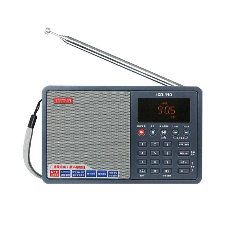 Livraison gratuite TECSUN ICR-110 FM/AM TF carte lecteur MP3 enregistreur Radio ICR110 (version mise à niveau de ICR-100)