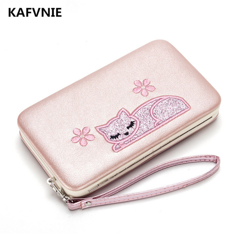 New Cat pattern PU Women Luxury Wallet Red Long Embroidery Ballet girl Multicolor Womens Wallets and Purses Black Color new black and red color shader