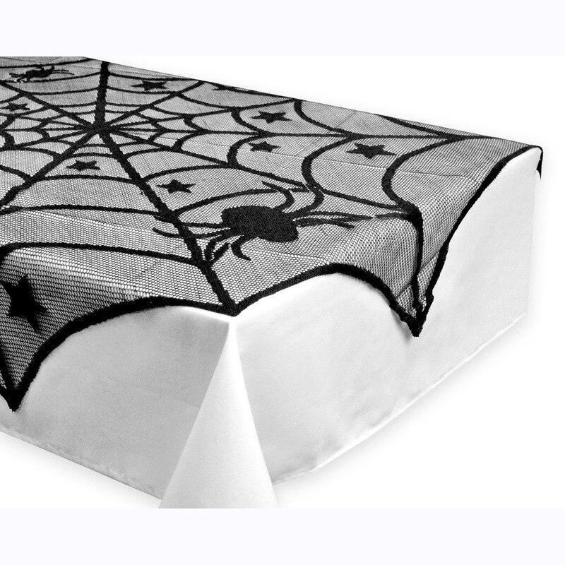 100% Kwaliteit Halloween Kant Tafelkleed Tafelkleed Zwart Spider Netto Mesh Tafelkleed Ghost Festival Decoratie Tableclothv