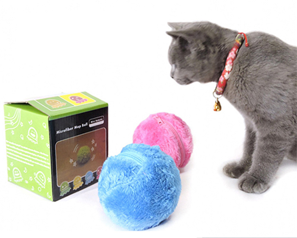 Magic Roller Ball Pet Toy Nontoxic Safe Automatic Roller Ball Chew Plush Floor Clean Toys Electric Interactive Toy Ball