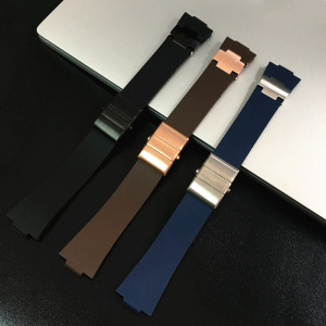 MERJUST 25mm Black Brown Blue Waterproof Silicone Rubber Replacement Wrist Watch Band Strap Belt For Ulysse Nardin Marine Diver