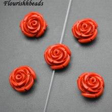 15 мм натуральный красный киноварь резной цветок розы камень свободные бусины 50 шт. в партии модные ювелирные изделия поставки