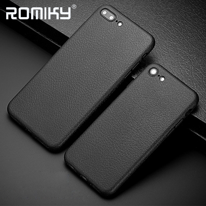 imágenes para 10 UNIDS Romiky Litchi Textura Caso De Goma para iPhone 6 7 Más Suave TPU Cubierta de La Contraportada para el iphone 7 6 s Plus Funda de Silicona Bolsa