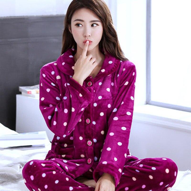 c585f118e7 Women Pajamas Set Print Dot Pyjamas Flannel Plush Femme Sexy Pyjama 2019 Winter  Pyjama Top Fashion