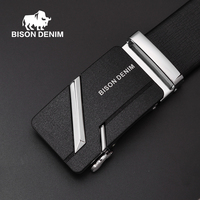 BISON DENIM 2016 Good Quality Cow Genuine Leather Male Belts Business Metal Buckle Starp Gift For