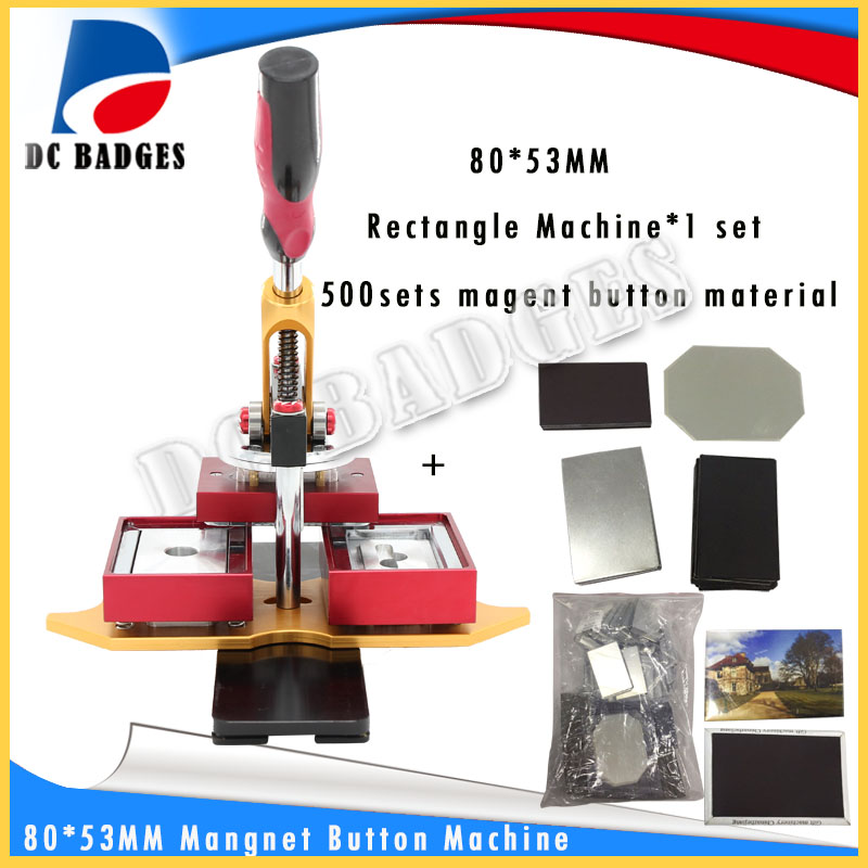 Free Shipping 80*53mm Rectangle magnetic button badge Press Making Machine  including mold with 500sets magnet button material 2016 new machine manual press badge making machine factory direct sale