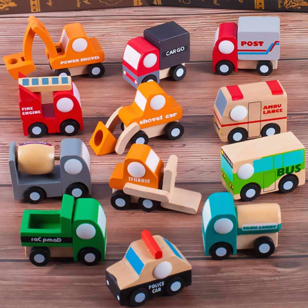 12pcs/Set Cute Wooden Assorted Construction Vehicles and Raced Mini Toy Car Airplane Set Baby Kids Toys for Children Gift