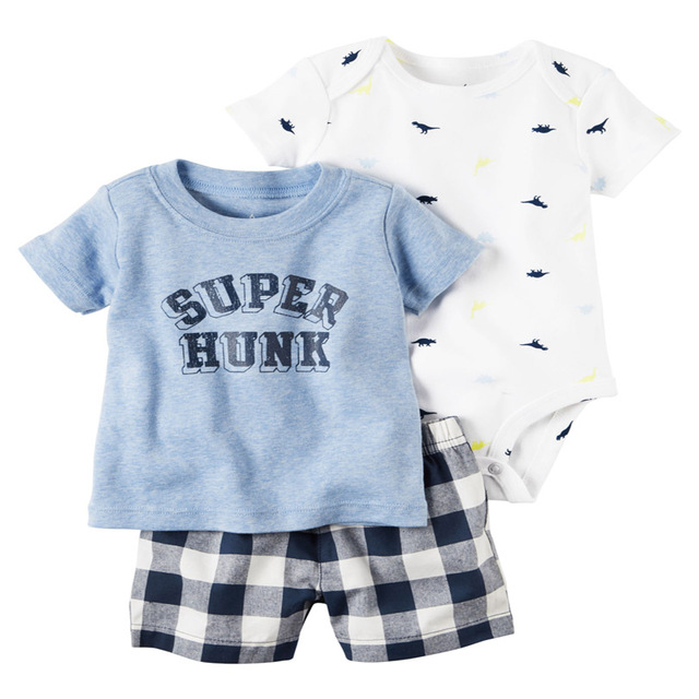 Hot! high quality Teamsters baby boy & girl clothing set short T-shirt + shorts or + romper 3 pcs Set baby clothes 3