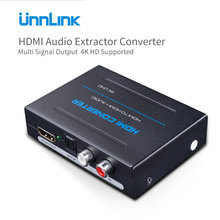 Unnlink HDMI Audio Extractor Converter HDMI to HDMI Optical Toslink RCA L/R Adapter 4K UHD Stereo Analog 5.1 Spdif Splitter