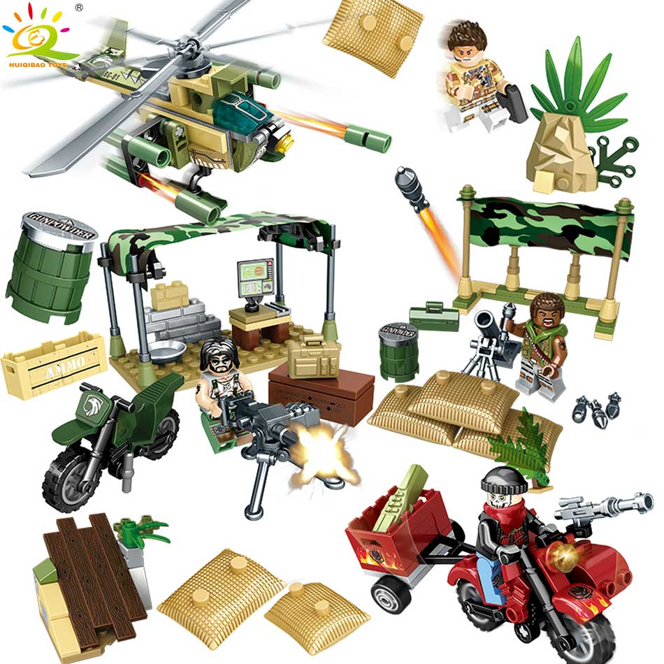 HUIQIBAO TOYS 267pcs Military Helicopter Army Soldier Figures Building Blocks Enlighten  ...