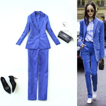 Two-piece women's long temperament slim velvet new suit jacket +straight trousers treasure blue suit autumn and winter new style