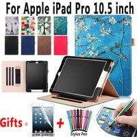 Leather Case voor iPad Pro 10.5 inch A1701 A1709 Geschilderd Handheld magneet Smart Cover voor iPad 10.5 Case Pro met Standaard Functie