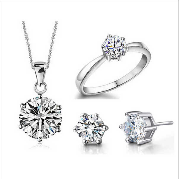 Wedding Fine Jewelry Sets Real Pure Silver Plated 6 Claw Cubic Zircon CZ Pendant Necklaces Earring Rings Engagement Set