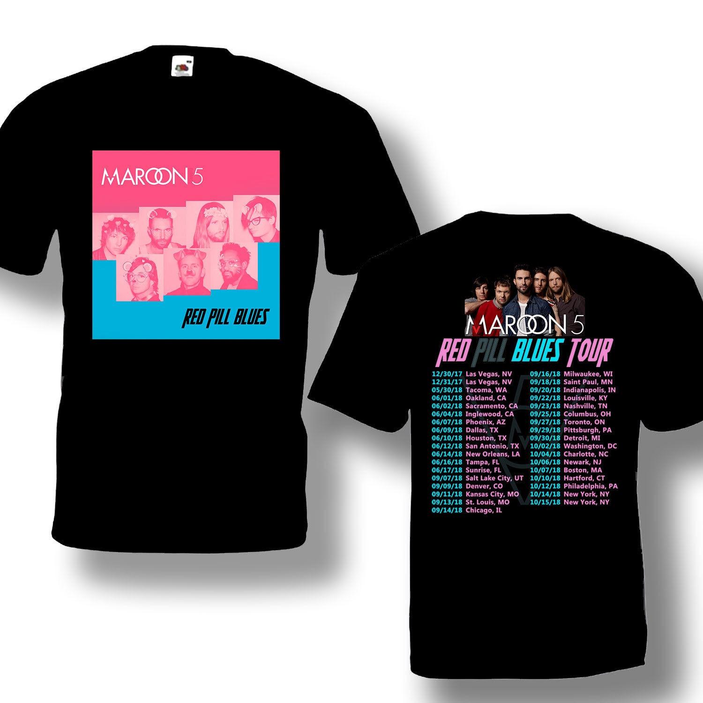 Maroon 5 Tour 2018 Tshirt With Tour Date Black Color Best Design For Sale
