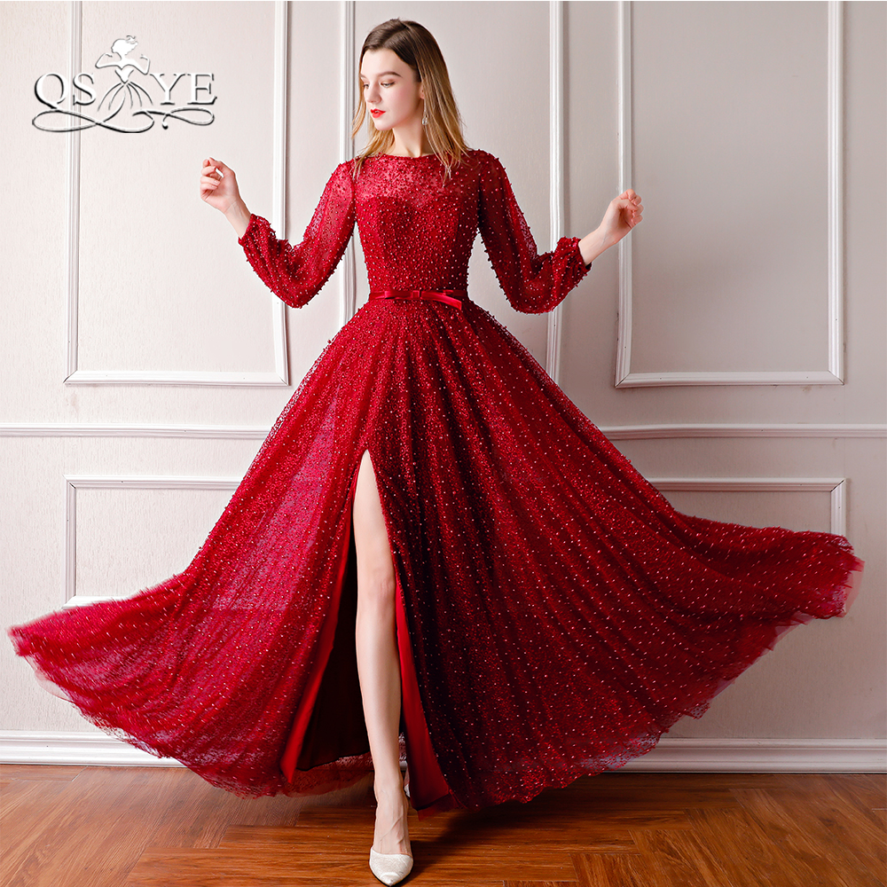 QSYYE 2018 New Wine Red Long Prom Dresses Full Pearls Long Sleeve ...