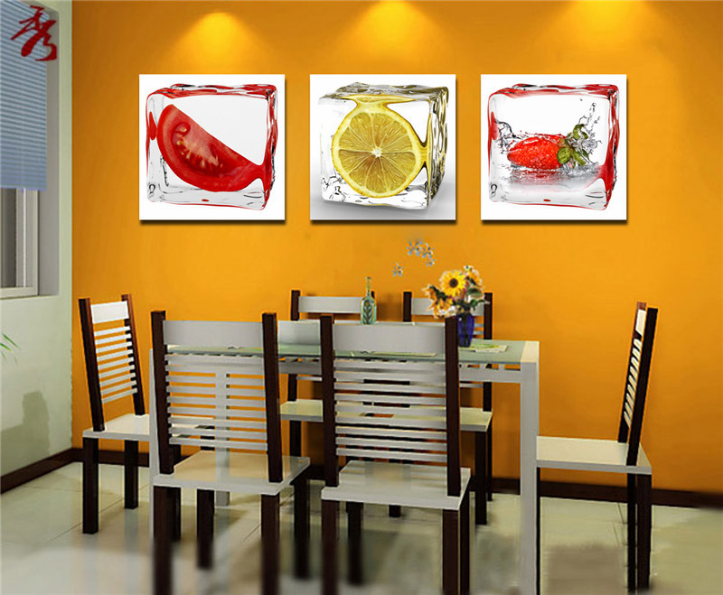 IceTomato Lemon Strawberry Cute Fruit Vegetable Canvas Painting Home Kitchen Dining Room Decor Art Photo Spray
