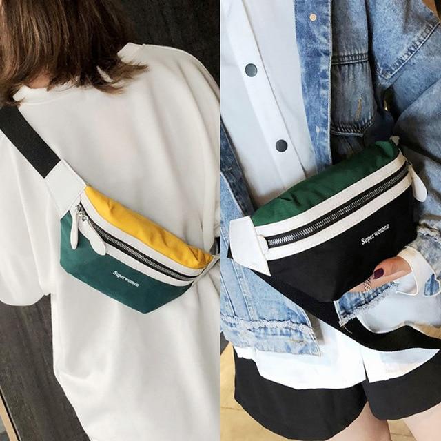 Saco de cinto de 2019 Novas Mulheres Lona Saco Da Cintura Casuais Panelled Peito Cintura Saco Fanny Pack para Mulheres Meninas Carta Impressão sacos