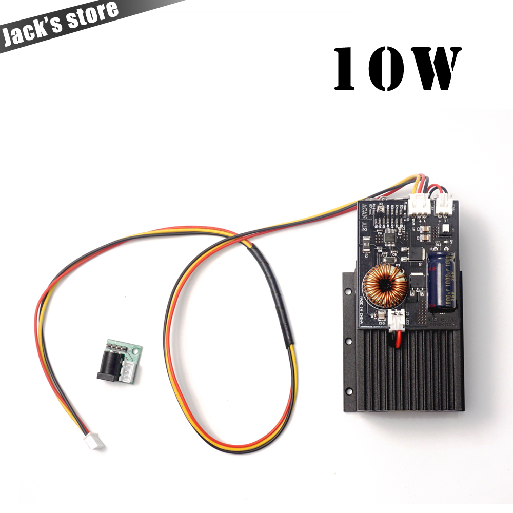 10 w laser, laser de Diode de Puissance élevée Focalisable Bleu Module Laser 450nm avec TTL Conducteur pour découpe laser machine de gravure 10000 mw