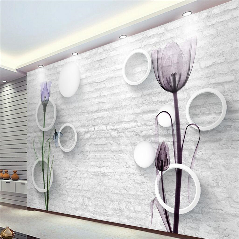 Beibehang Blanco Ladrillos Tv Fondo Papel De Pared De Flores - Papeles-de-decoracion-para-paredes