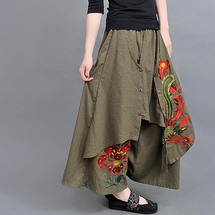 #5401 Sommer Stickerei Floral Tasten Casual Vintage Dünne Breite Bein Hosen Frauen Plus Größe Rock Hosen Baumwolle Leinen Hosen Lose