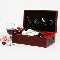 Vintage Archaistic Red Wine Box Portable Wood Wine Bags Champagne Bottle Carrier Wine Storage Box Bar Accessorie Business Gifts