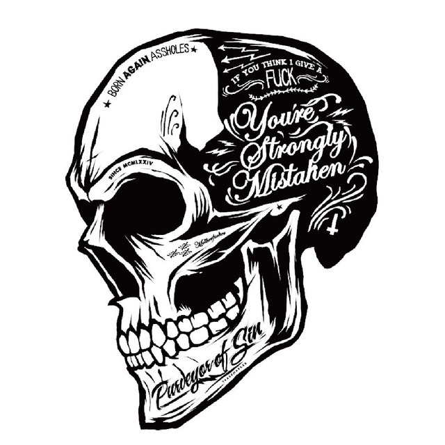 Black white skull cool motorcycle stickers motor decals helmet sticker on car styling on fuel tank