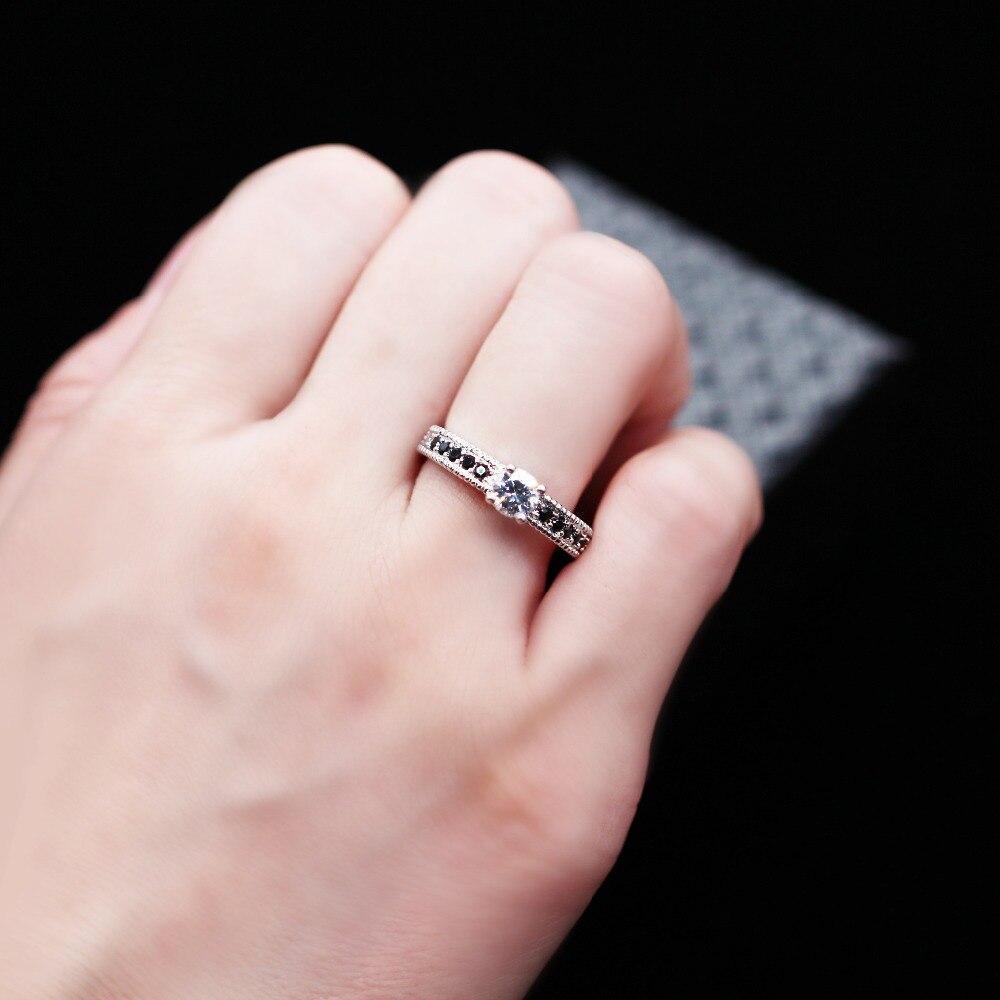 Uloveido Crystal Cubic Zirconia Rings for Women Black Female Ring ...